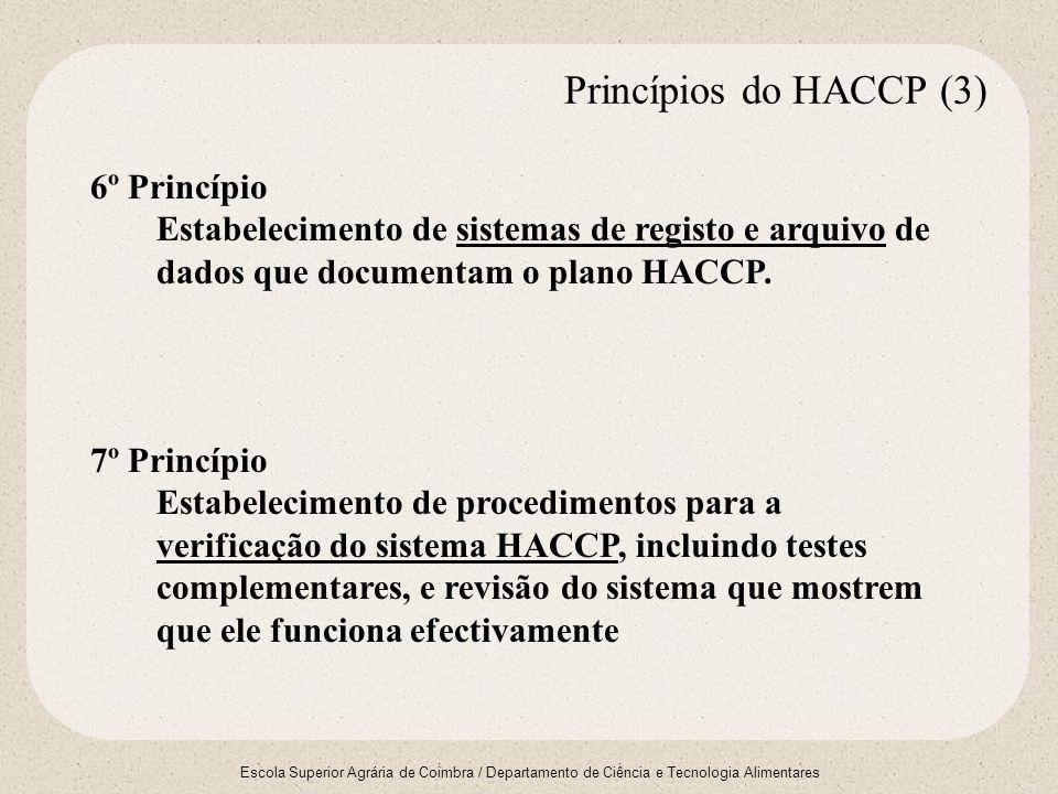 Princípios do HACCP (3) 6º Princípio