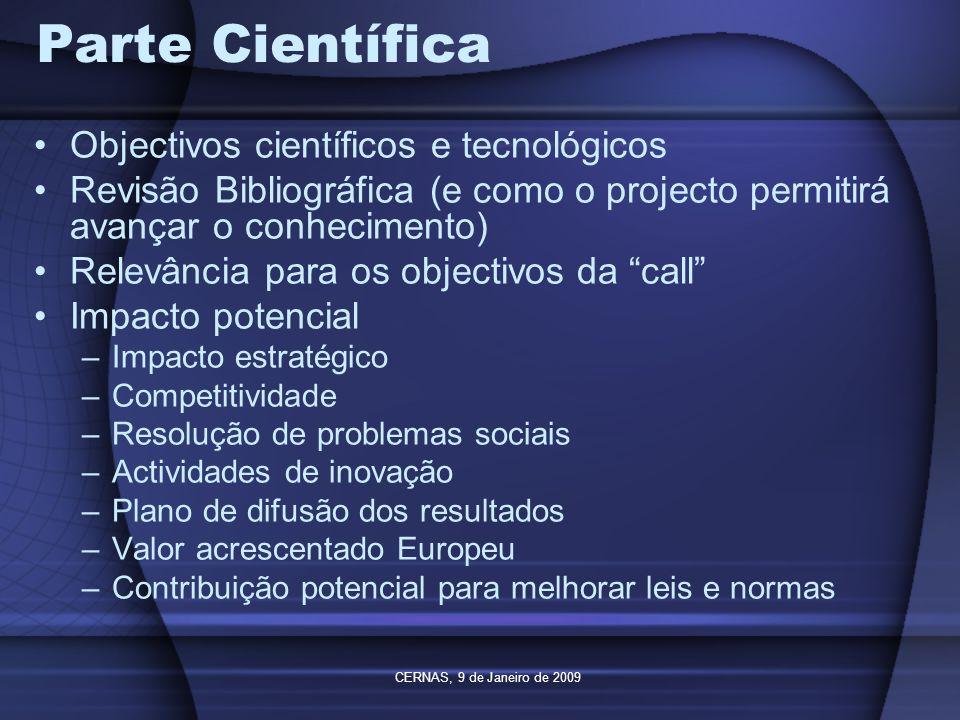 Parte Científica Objectivos científicos e tecnológicos