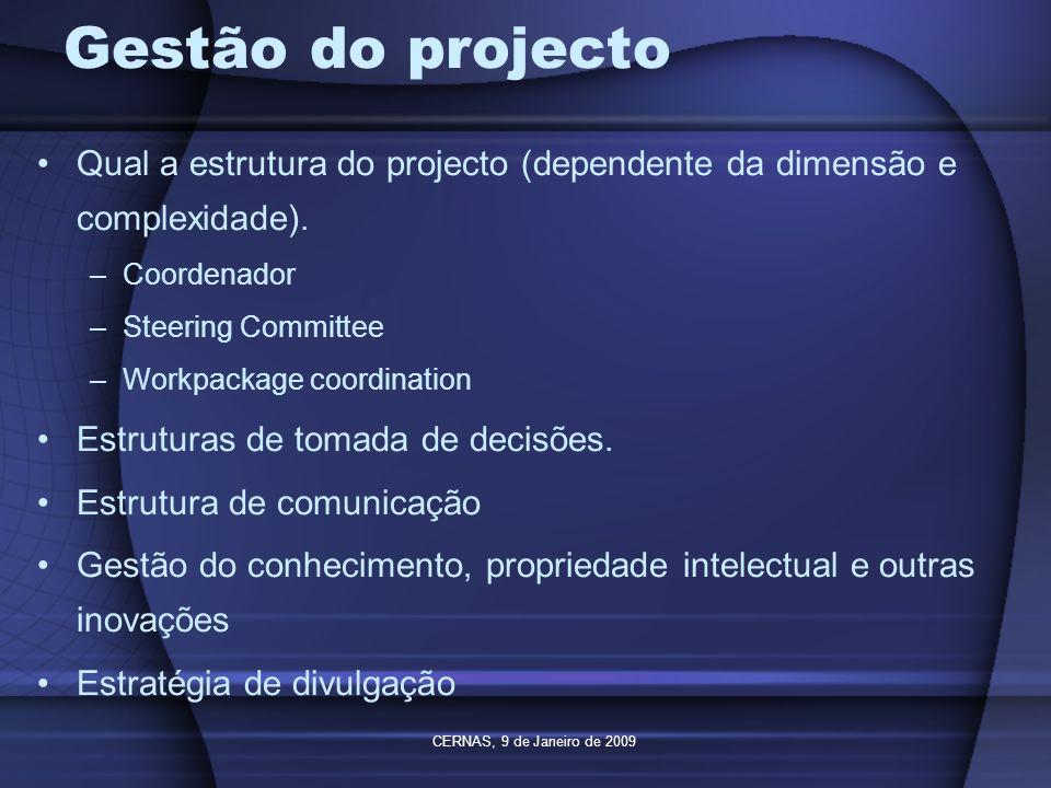 Gestão do projecto Qual a estrutura do projecto (dependente da dimensão e complexidade). Coordenador.