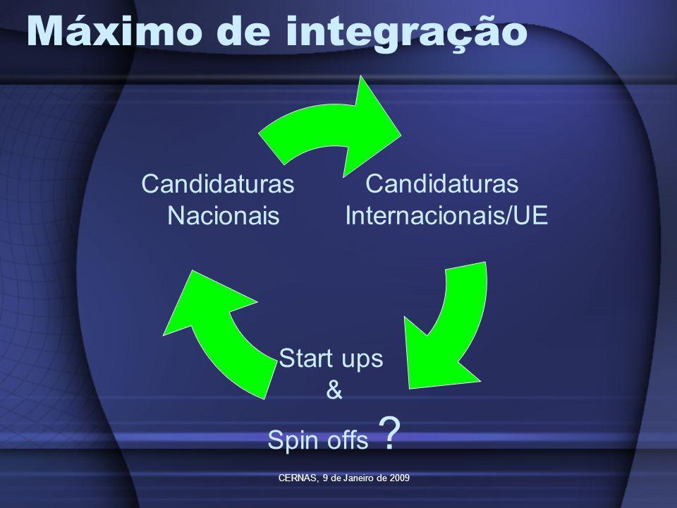 Máximo de integração CERNAS, 9 de Janeiro de 2009