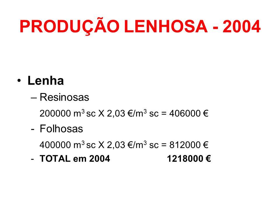 PRODUÇÃO LENHOSA - 2004 Lenha Resinosas