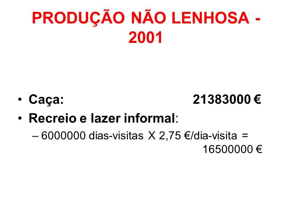 PRODUÇÃO NÃO LENHOSA - 2001 Caça: 21383000 € Recreio e lazer informal:
