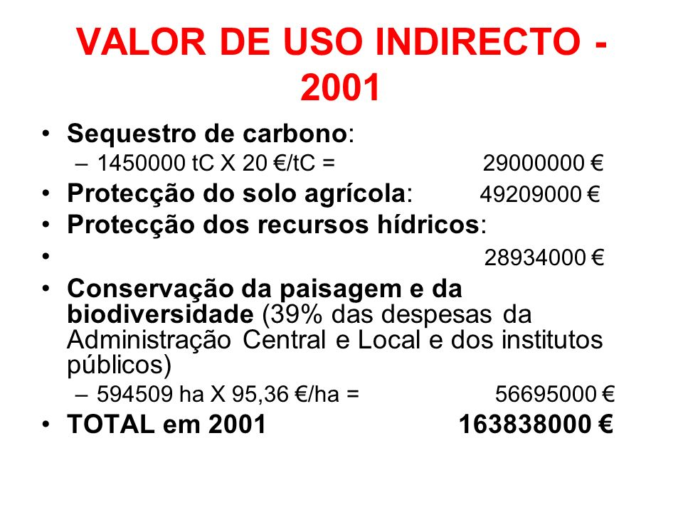 VALOR DE USO INDIRECTO - 2001
