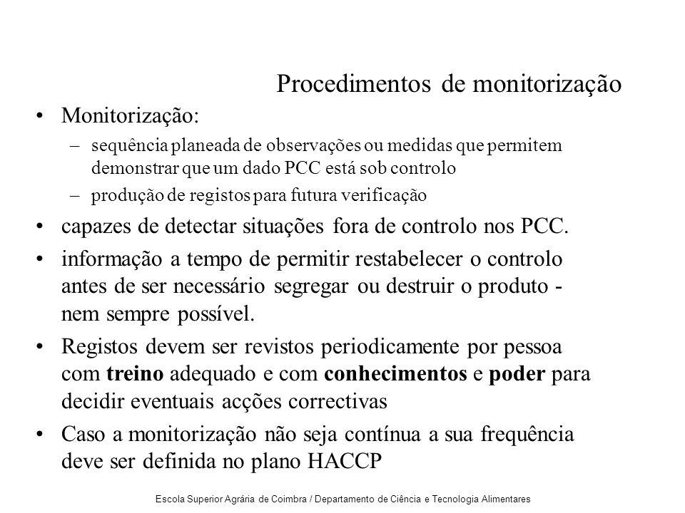 Procedimentos de monitorização