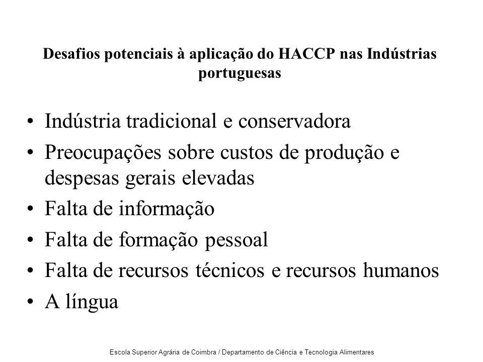 Desafios potenciais à aplicação do HACCP nas Indústrias portuguesas