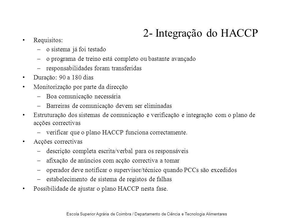 2- Integração do HACCP Requisitos: o sistema já foi testado
