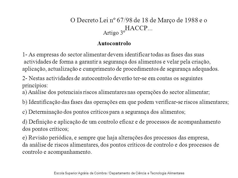 O Decreto Lei nº 67/98 de 18 de Março de 1988 e o HACCP...