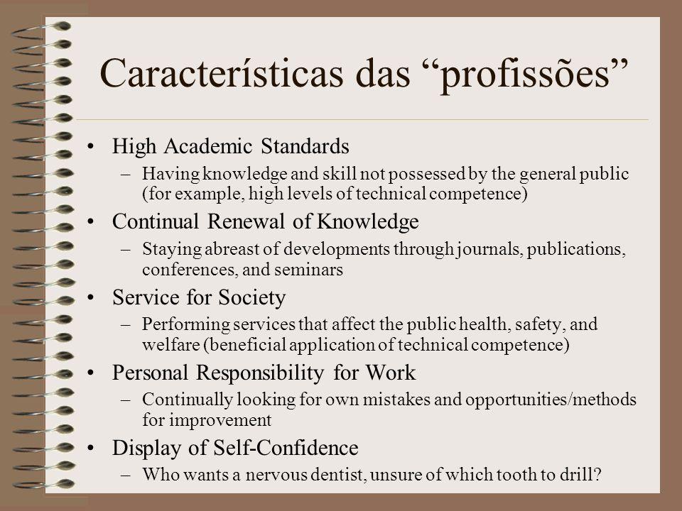 Características das profissões