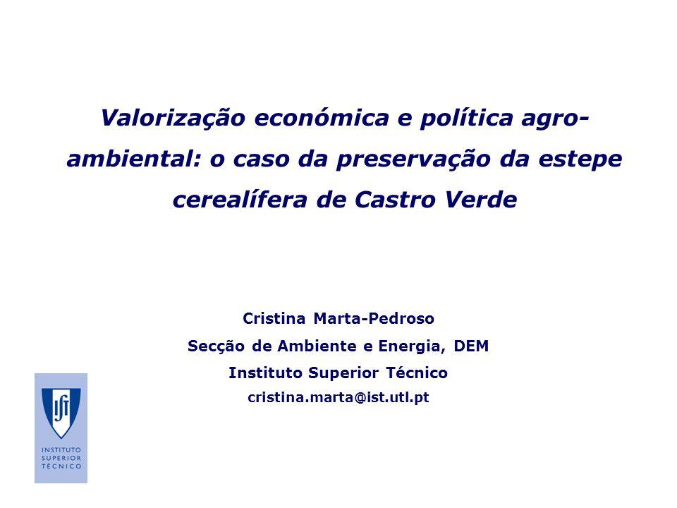 Valorização económica e política agro-ambiental: o caso da preservação da estepe cerealífera de Castro Verde