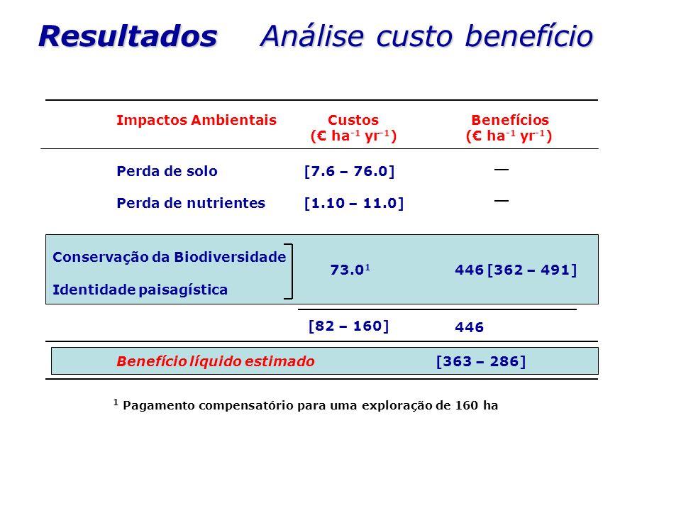 Resultados Análise custo benefício