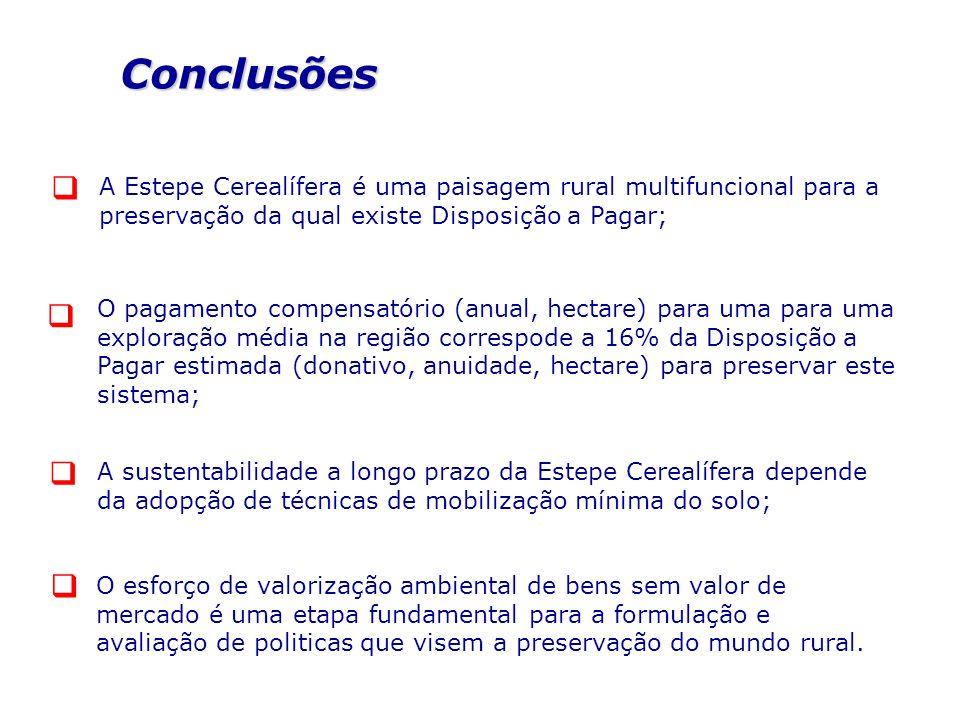 Conclusões  A Estepe Cerealífera é uma paisagem rural multifuncional para a preservação da qual existe Disposição a Pagar;
