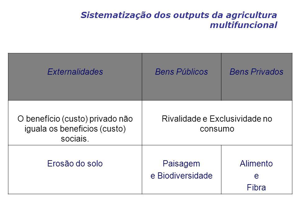 Sistematização dos outputs da agricultura multifuncional