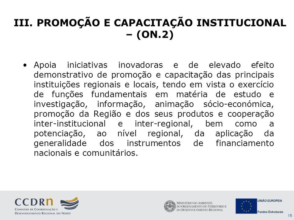 III. PROMOÇÃO E CAPACITAÇÃO INSTITUCIONAL – (ON.2)
