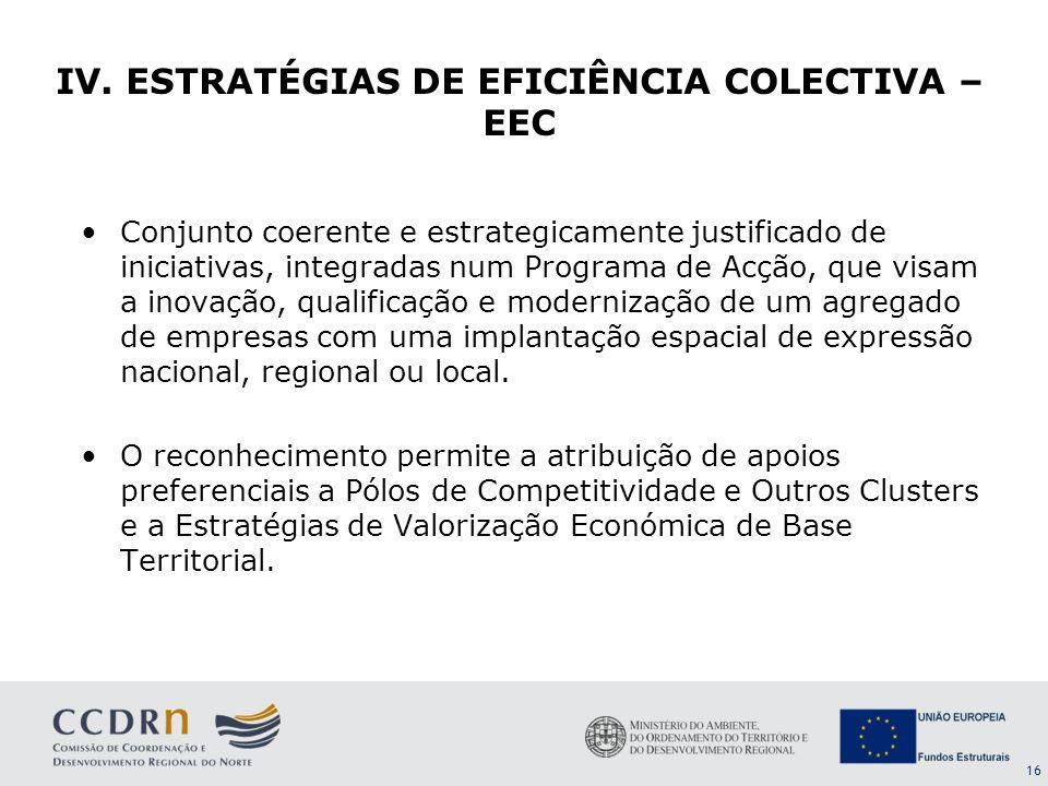 IV. ESTRATÉGIAS DE EFICIÊNCIA COLECTIVA – EEC