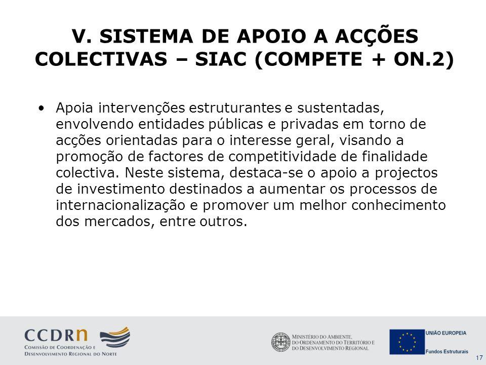 V. SISTEMA DE APOIO A ACÇÕES COLECTIVAS – SIAC (COMPETE + ON.2)