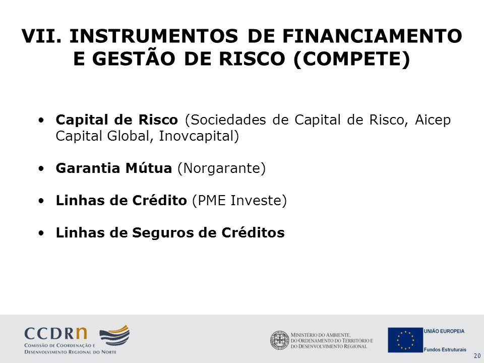 VII. INSTRUMENTOS DE FINANCIAMENTO E GESTÃO DE RISCO (COMPETE)