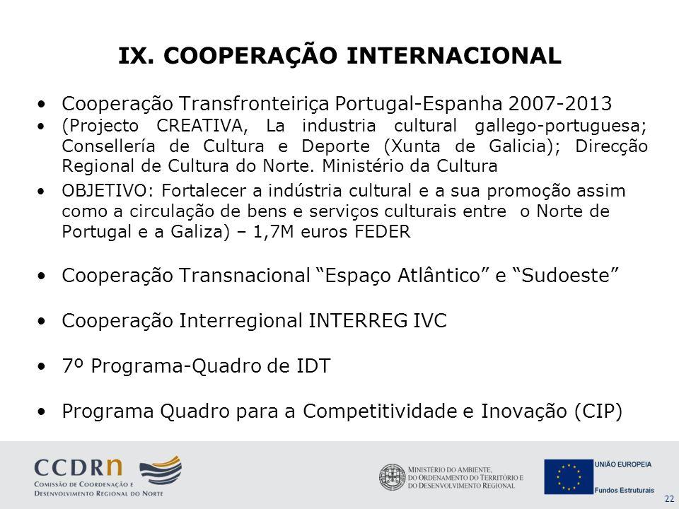 IX. COOPERAÇÃO INTERNACIONAL