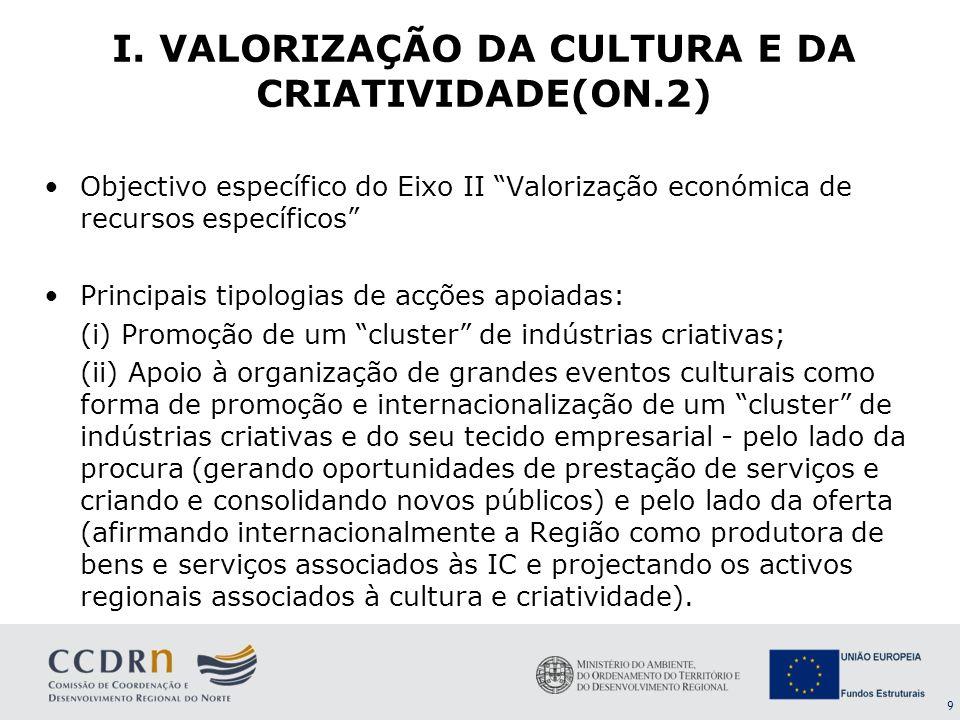 I. VALORIZAÇÃO DA CULTURA E DA CRIATIVIDADE(ON.2)