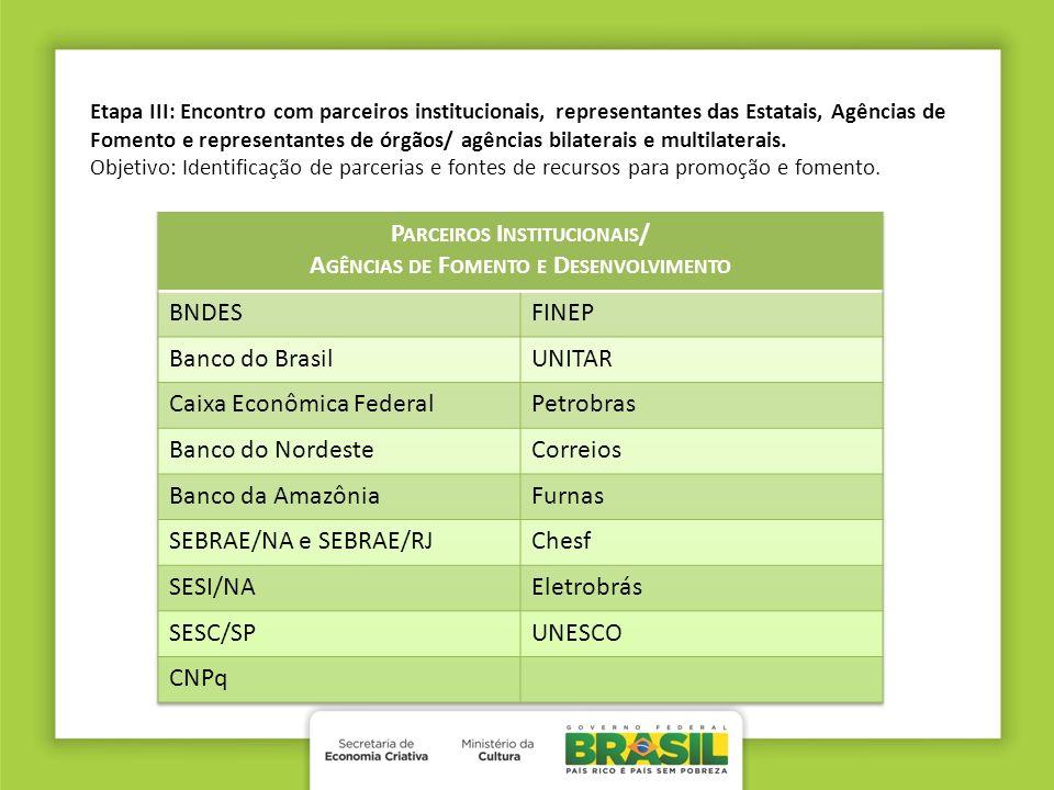 Parceiros Institucionais/ Agências de Fomento e Desenvolvimento