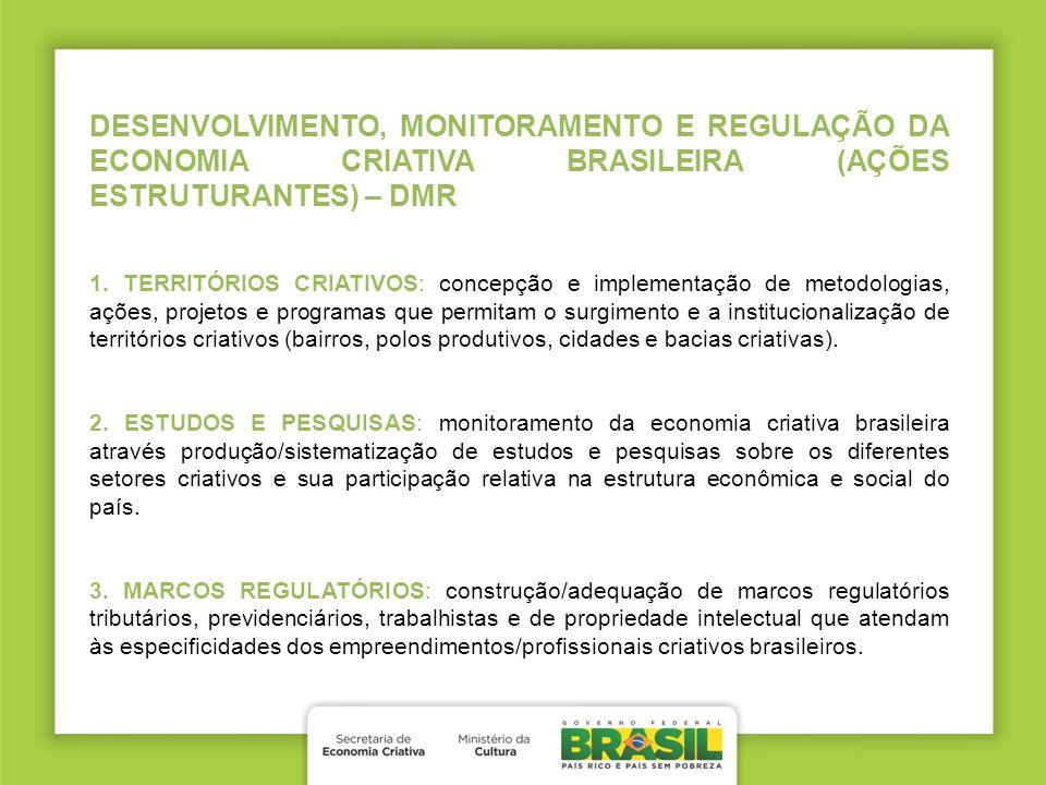 DESENVOLVIMENTO, MONITORAMENTO E REGULAÇÃO DA ECONOMIA CRIATIVA BRASILEIRA (AÇÕES ESTRUTURANTES) – DMR