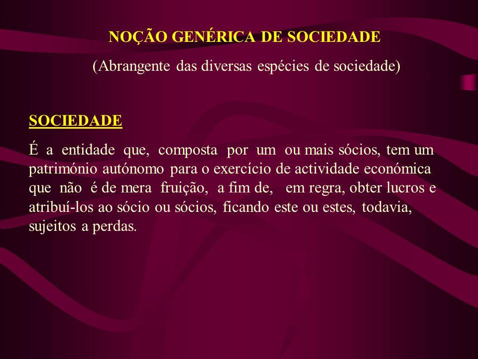 NOÇÃO GENÉRICA DE SOCIEDADE