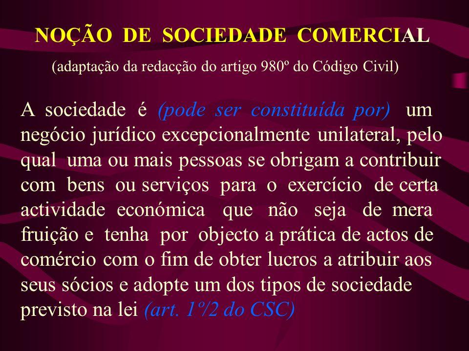 NOÇÃO DE SOCIEDADE COMERCIAL