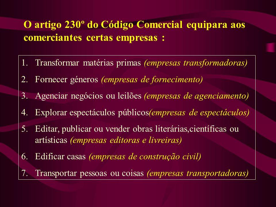 O artigo 230º do Código Comercial equipara aos comerciantes certas empresas :