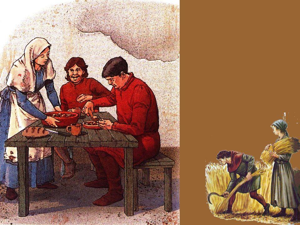 Neste diapositivo, o professor deve questionar os alunos acerca das principais diferenças entre o tipo de refeição do nobre e do camponês.