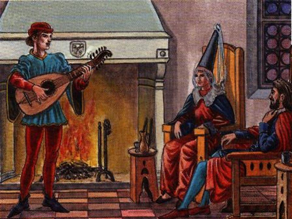 Ao som de um trovador, o professor e os alunos podem ouvir uma das músicas mais populares na Idade Média, principalmente nos serões dos castelos. Será interessante o professor falar nos temas abordados nestas Cantigas de Amor e nas Cantigas de Amigo , não esquecendo de mencionar o exemplo português do rei-poeta D. Dinis, o qual escreveu muitas Cantigas, tocadas e cantadas na sua corte.