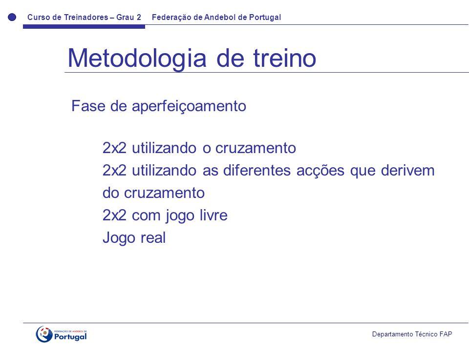 Metodologia de treino Fase de aperfeiçoamento