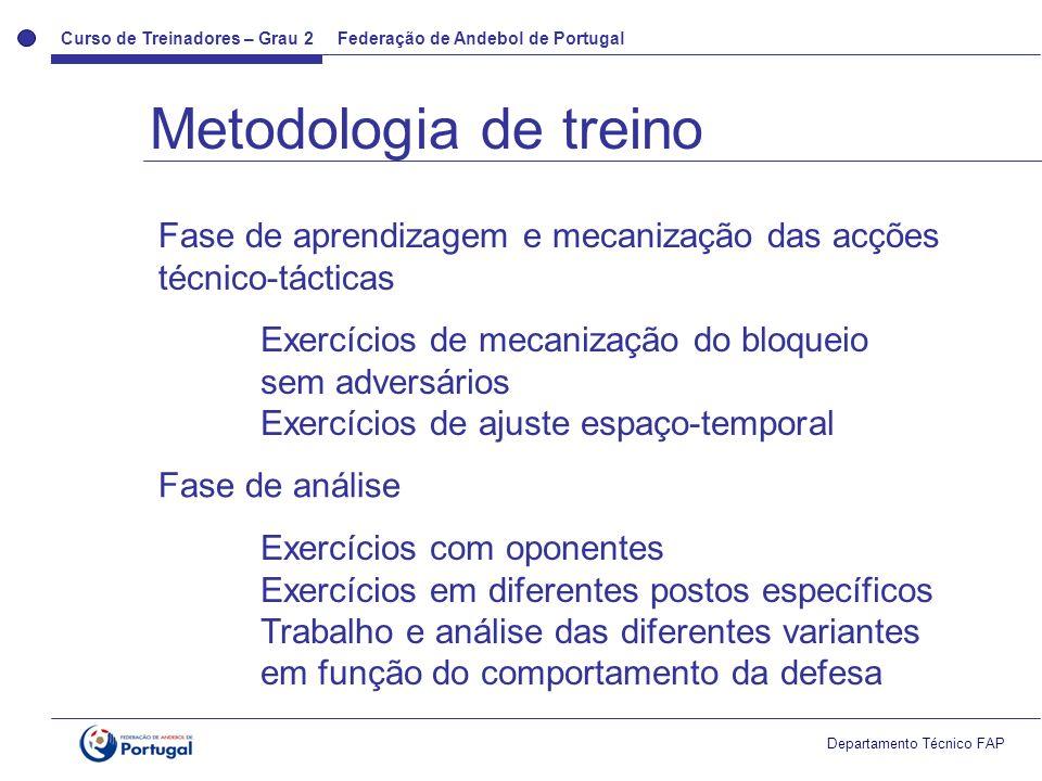 Metodologia de treino Fase de aprendizagem e mecanização das acções