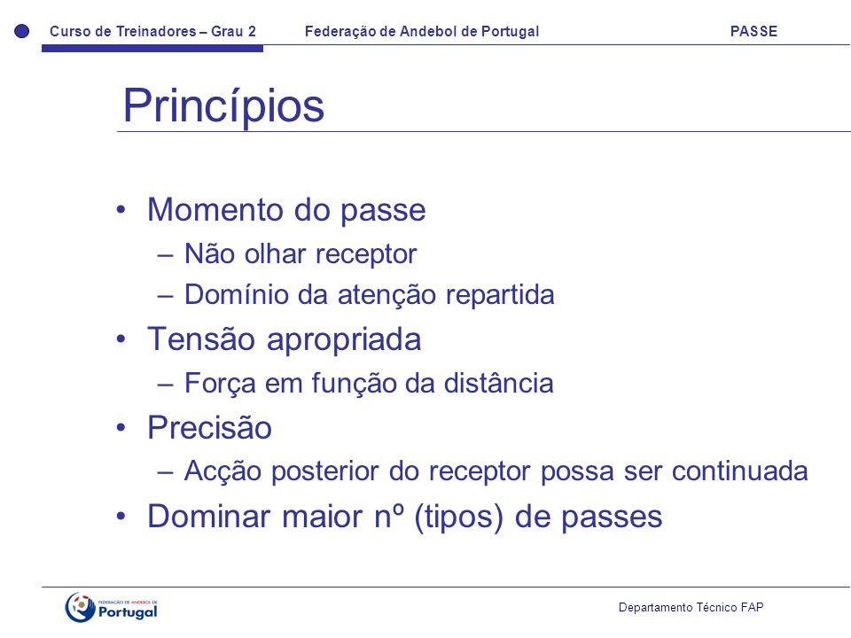 Princípios Momento do passe Tensão apropriada Precisão