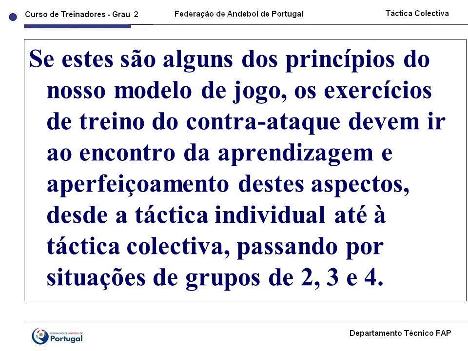 Se estes são alguns dos princípios do nosso modelo de jogo, os exercícios de treino do contra-ataque devem ir ao encontro da aprendizagem e aperfeiçoamento destes aspectos, desde a táctica individual até à táctica colectiva, passando por situações de grupos de 2, 3 e 4.
