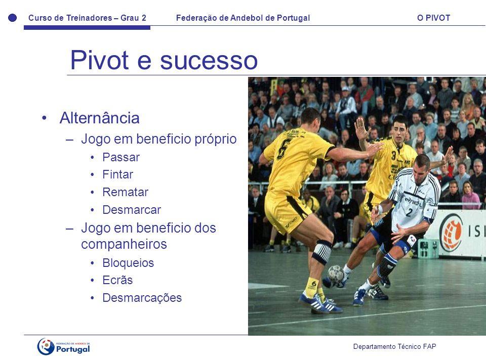 Pivot e sucesso Alternância Jogo em beneficio próprio