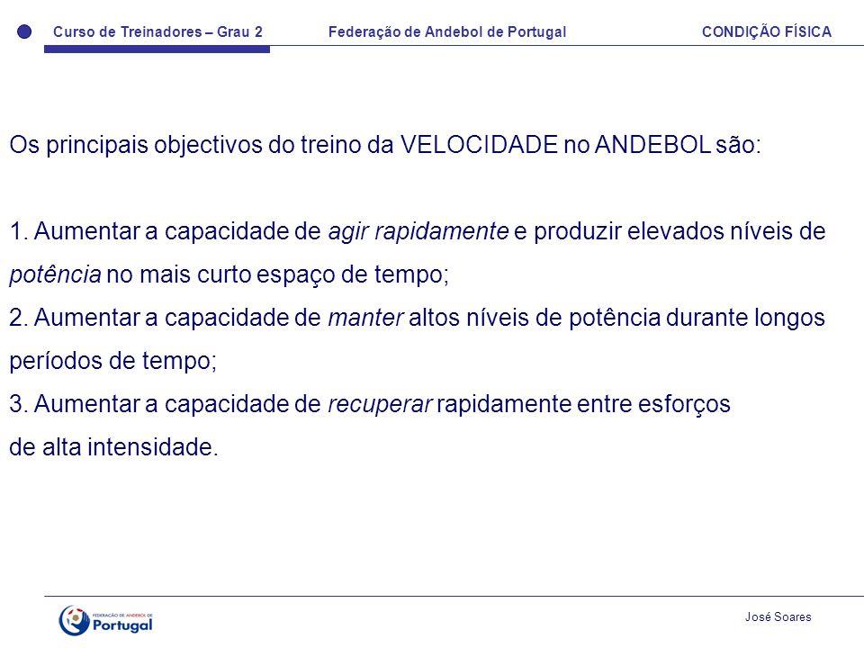 Os principais objectivos do treino da VELOCIDADE no ANDEBOL são: