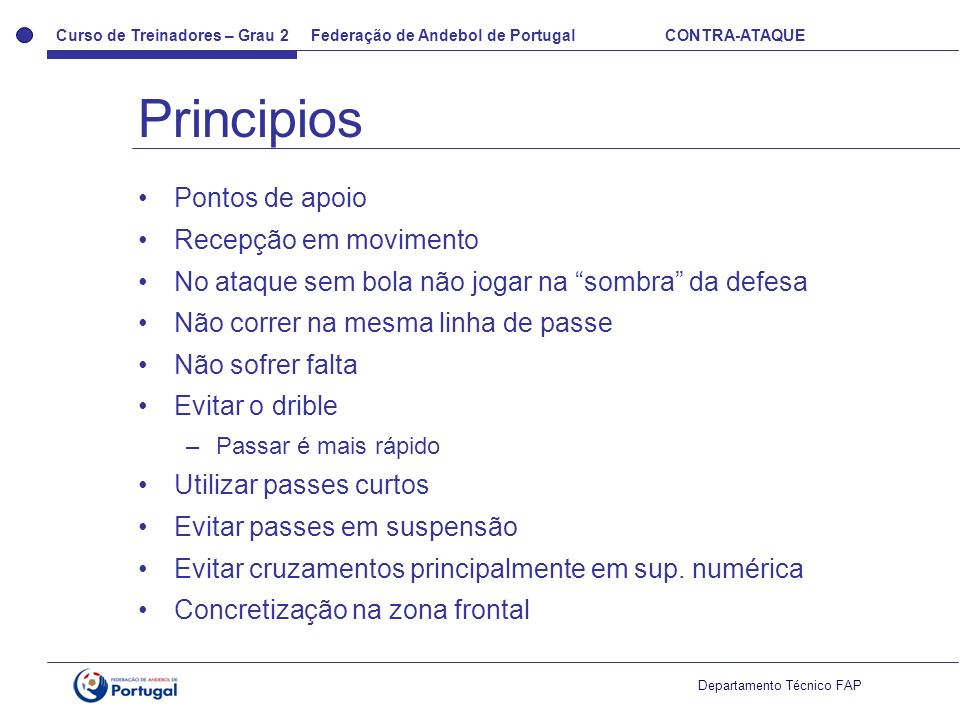 Principios Pontos de apoio Recepção em movimento