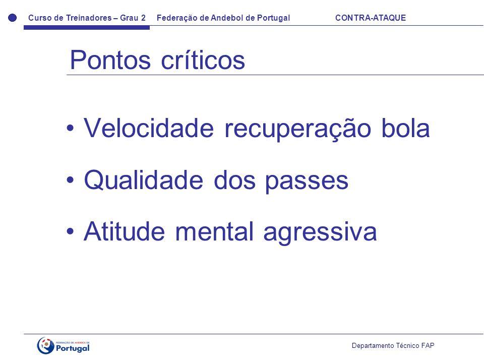 Pontos críticos Velocidade recuperação bola Qualidade dos passes Atitude mental agressiva