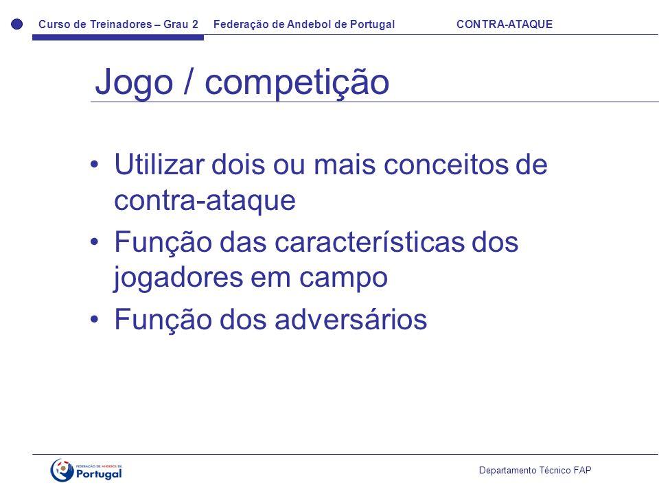 Jogo / competição Utilizar dois ou mais conceitos de contra-ataque