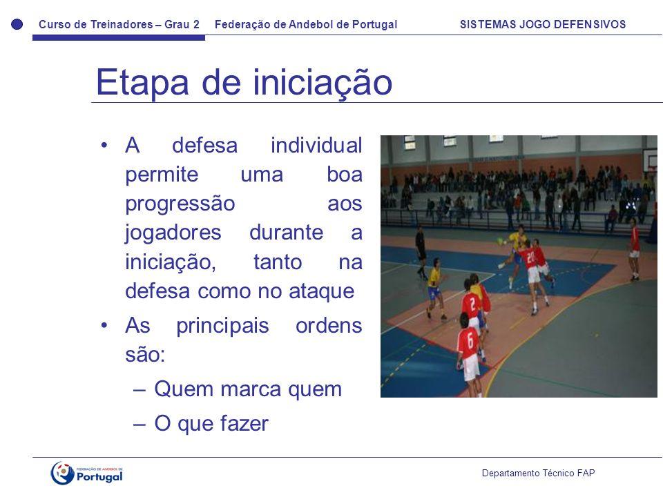 Etapa de iniciação A defesa individual permite uma boa progressão aos jogadores durante a iniciação, tanto na defesa como no ataque.