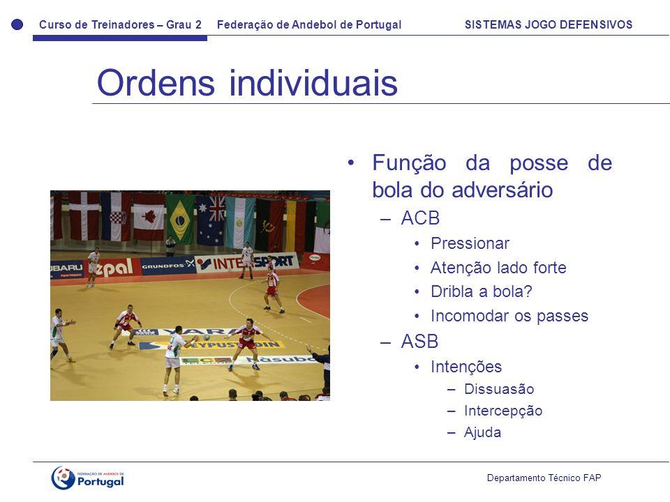 Ordens individuais Função da posse de bola do adversário ACB ASB