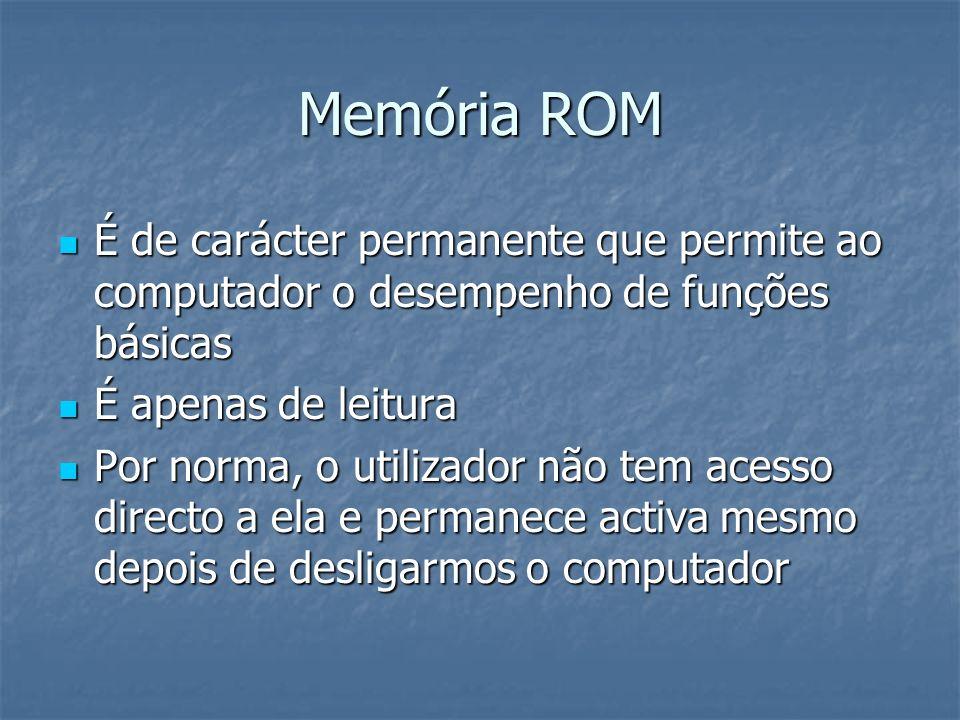 Memória ROM É de carácter permanente que permite ao computador o desempenho de funções básicas. É apenas de leitura.