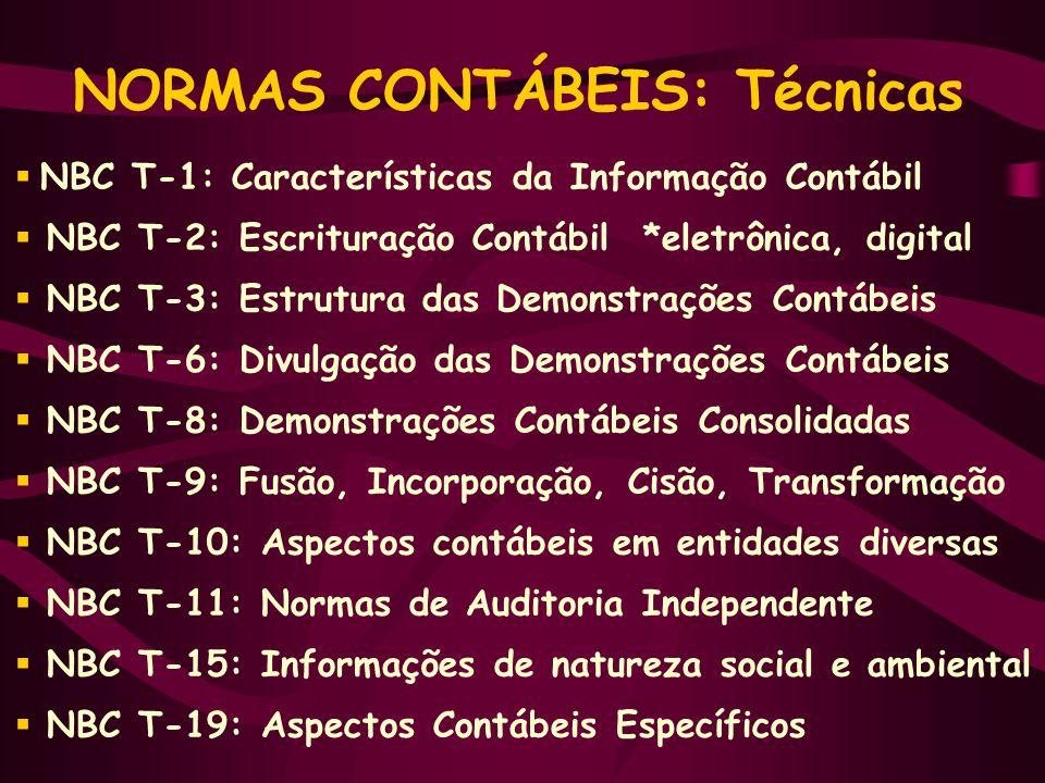 NORMAS CONTÁBEIS: Técnicas