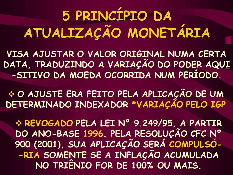 5 PRINCÍPIO DA ATUALIZAÇÃO MONETÁRIA