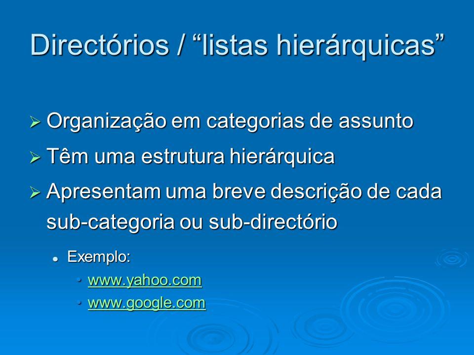 Directórios / listas hierárquicas