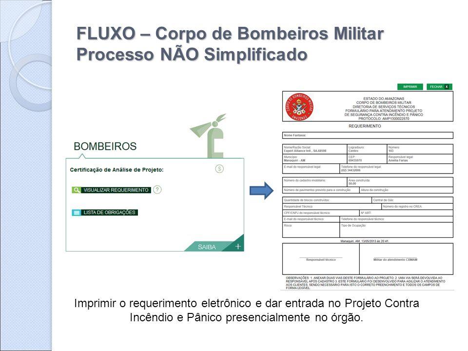 FLUXO – Corpo de Bombeiros Militar Processo NÃO Simplificado
