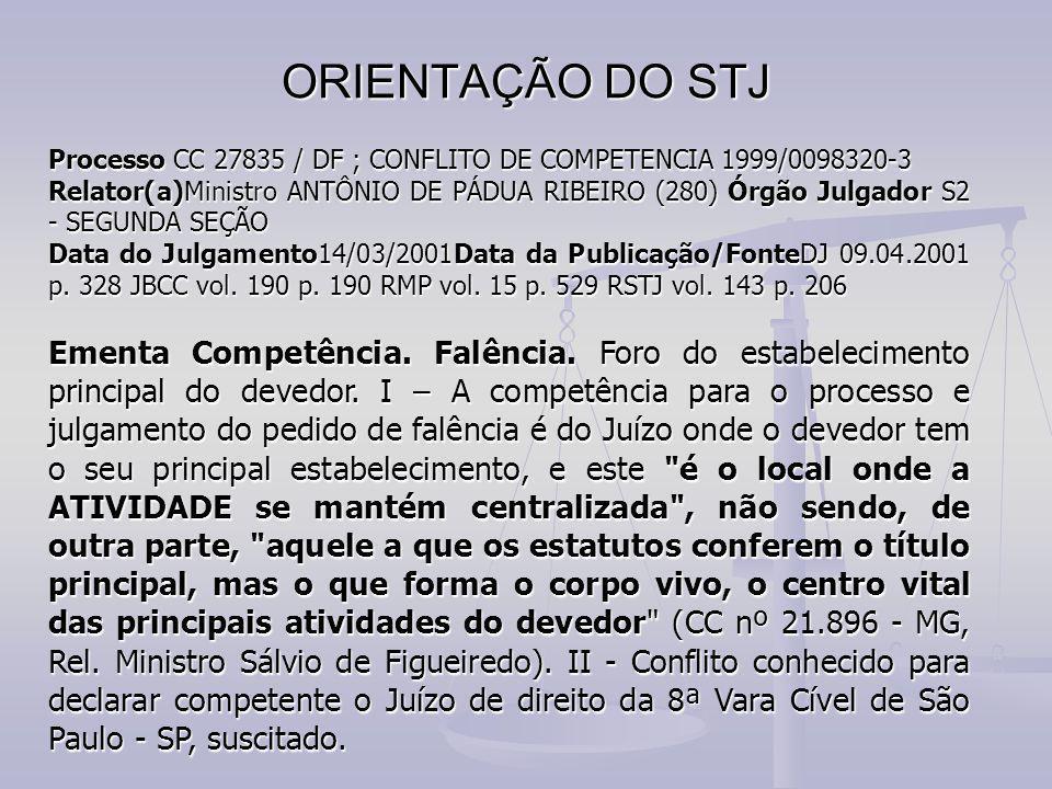 ORIENTAÇÃO DO STJ Processo CC 27835 / DF ; CONFLITO DE COMPETENCIA 1999/0098320-3.