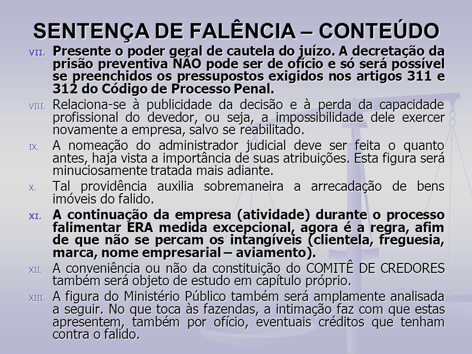 SENTENÇA DE FALÊNCIA – CONTEÚDO