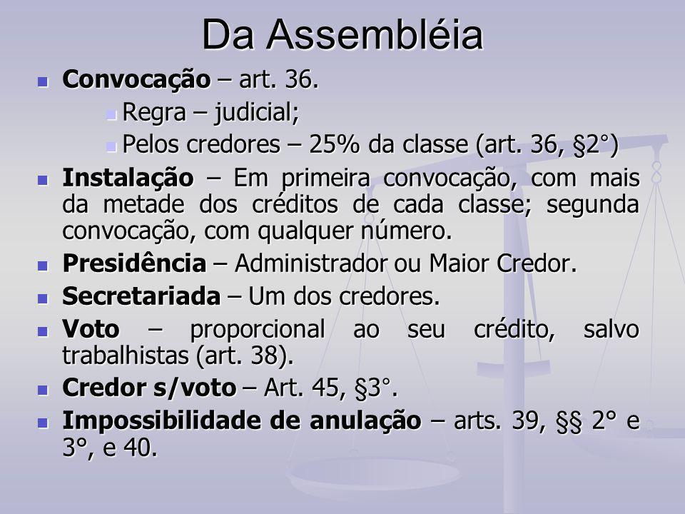 Da Assembléia Convocação – art. 36. Regra – judicial;