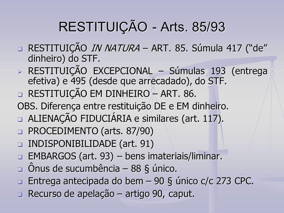 RESTITUIÇÃO - Arts. 85/93 RESTITUIÇÃO IN NATURA – ART. 85. Súmula 417 ( de dinheiro) do STF.