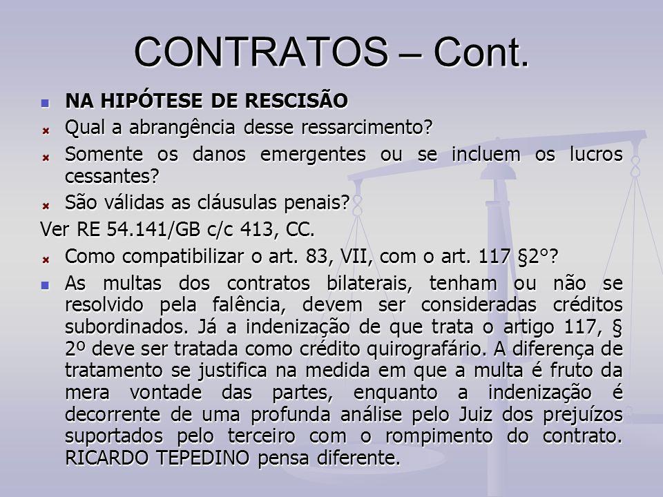 CONTRATOS – Cont. NA HIPÓTESE DE RESCISÃO